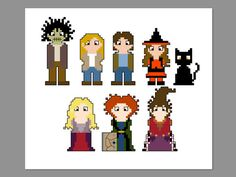 Hocus Pocus Pixel People Character Cross Stitch by CheekySharkLabs