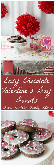 "Today I'm sharing with you a really Easy Chocolate Valentines Donut recipe {PLUS a FREE Valentines Menu Printable!} to help you celebrate with the ones that you love. Whether a close friend, a parter, spouse, your kids... these donuts are a perfectly sweet way to say ""I Love You"". #SendingYourLove #CollectiveBias {ad} @walmart"