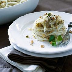 "Gluten Free Pasta with Low Fat Pistachio ""Cream"" Sauce"
