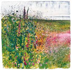Landscape (Campion and Foxglove) - Kurt Jackson British, Watercolour Kurt Jackson, Abstract Landscape, Landscape Paintings, Historia Natural, A Level Art, Gcse Art, Garden Art, Art Images, Flower Art