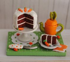 Miniature Carrot Cake And Carrot Teapot