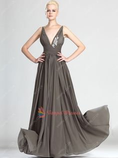 123.00$  Buy now - http://vieia.justgood.pw/vig/item.php?t=c9qmi5g59390 - Grey Deep V-neck Pleated Chiffon Long Prom Dresses With Applique 123.00$