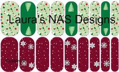 Custom 2 #NAS #Jamberry #NailArtStudio #NailArt #DIY #laurasnasdesigns #custom #christmas #trees #snowflakes