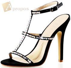 Sandale High Heels Pumps 10,6 cm Strass Schwarz Weiß Riemchen Apropos