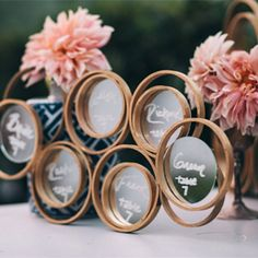 Make your very own incredible ring mirror displays for table numbers or a backdrop!