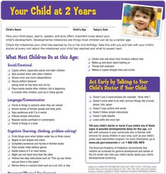 Milestone Checklists are single-page lists of developmental milestones and warning signs of potential developmental delay for specific ages. Download - http://www.cdc.gov/ncbddd/actearly/pdf/checklists/all_checklists.pdf