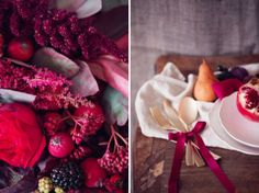 Red, berry and pantone vivacious inspiration shoot http://peachesandmint.com/