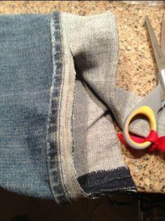 Spijkerbroek inkorten zonder de originele onderkant kwijt te raken. Zoom, terug vouwen en strijken.