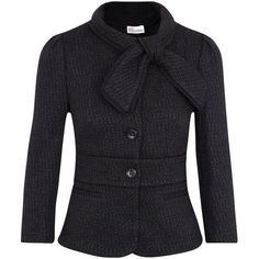 RED Valentino Bow Fastening Bouclé Jacket ($720) ❤ liked on Polyvore