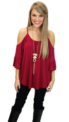 Casual, knit top with just enough sass. www.shopbluedoor.com