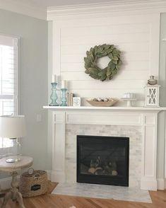 Fireplace Surrounds, Fireplace Design, Fireplace Ideas, Mantle Ideas, Fireplace Makeovers, Fireplace Tile Surround, Fireplace Remodel, Mosaic Fireplace, Shiplap Fireplace