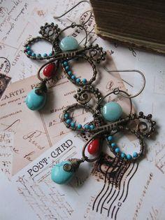 Wire Wrapped Butterfly Boho Earrings by Lirimaer on Etsy