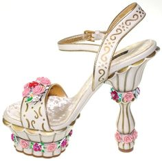 Dolce  Gabbana Leather Floral Hand Painting Cake Platform Heel Shoes NEW $3845  Starting bid: US $1,000.00 US size 7