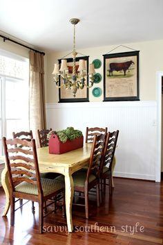 breakfast room w old tool box for flowers