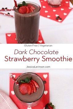 Dark chocolate, creamy greek yogurt, and sweet strawberries are the perfect combination in this frosty, high protein and heart-healthy Valentine's Day Dark Chocolate Strawberry Smoothie! Get the gluten-free and vegetarian recipe via JessicaLevinson. Chocolate Strawberry Smoothie, Blackberry Smoothie, Chocolate Strawberries, Strawberry Smoothie Recipes, Strawberry Blueberry, Covered Strawberries, Frozen Strawberries, Protein Smoothies, Apple Smoothies