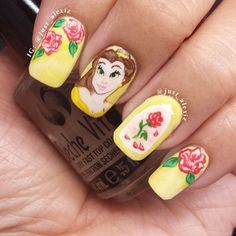 So adorable! Beauty and the Beast nails!