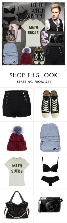 """""""Tongues on the sockets of electric dreams"""" by frerardforever ❤ liked on Polyvore featuring LE3NO, Play Comme des Garçons, Eugenia Kim, Stussy, Wildfox, Wonderland, Coven and Fujifilm"""