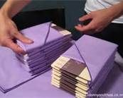 napkin folding ideas  insert program or messages of thanks from bride and groom