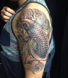 Black & Grey Asian Traditional half sleeve Koi Fish tattoo #torontotattoos #goldenirontattoostudio #tattoos #inked #inkedup #tattooed #art #bodyart #tattoolife #tattoostyle #tattooflash #tattoostudio #tattooart #tattoolove #tattootime #inkaddict #tattooworld #tattoodesign #inkjunkeyz #tatuagem #blackandgrey #tattoocollection #asiantraditional #koifish