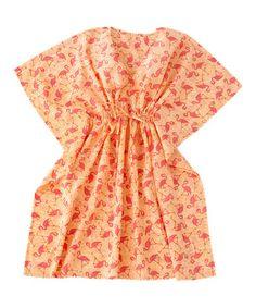 Orange & Coral Flamingo Florida Cape-Sleeve Dress #zulilyfinds