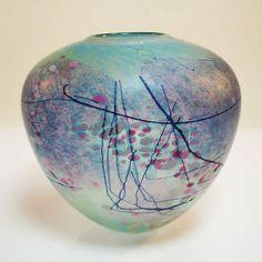 Studio Glas Vase • Fein santiniert • Farbaufschmezungen • Handbemalt