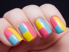 Sally Hansen Spring Color Block Tape Manicure (+ Tutorial)   Chalkboard Nails   Nail Art Blog