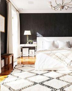 Black and white bedroom  Photo via Alison Cayne