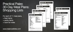 "Want to know what to buy at the store for you meals?  Here are the shopping lists for the 30-Day Meal Plans in ""Practical Paleo""!                         #practicalpaleo #balancedbites #shoppinglists #mealplans"