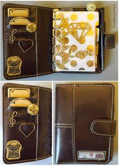 Filofaxing Mini Organiser für die Handtasche - Gold Brown Diamond Handbag Planner | the blossom's place