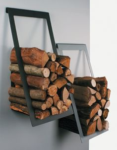 Great idea for firewood storage on a wall or a fence
