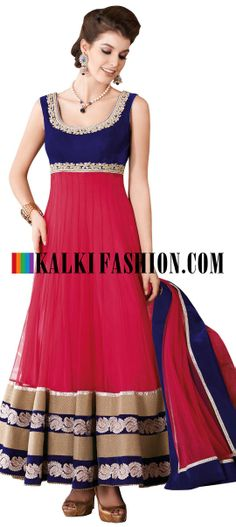Buy Online from the link below. We ship worldwide (Free Shipping over US$100) http://www.kalkifashion.com/red-and-blue-anarkali-suit-with-embroidered-neckline-8476.html Red and blue anarkali suit with embroidered neckline