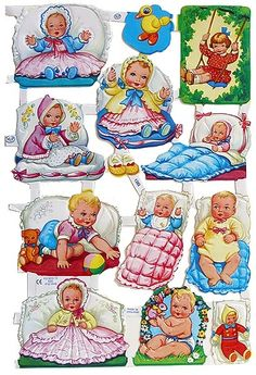 🌟Tante S!fr@ loves this📌🌟Embossed and die cut paper scraps made in England Vintage Paper Dolls, Vintage Art, Vintage Pictures, Cute Pictures, Paper Toys, Paper Crafts, Baby Mine, Old Toys, Vintage Children