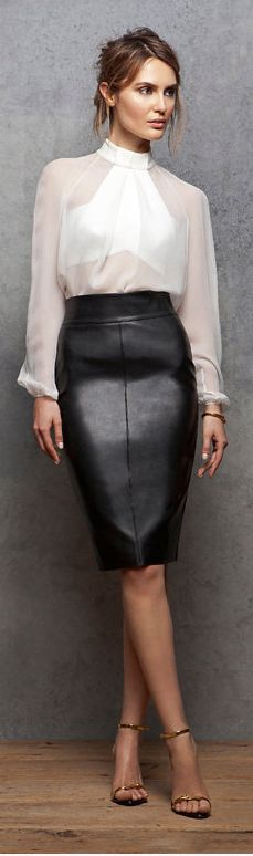 get the look: vegan leather skirt I think I like the blouse. Would never wear a leather skirt to work at Ford, lol Style Work, Mode Style, Style Me, Work Chic, Black And White Outfit, Black White, Dress Black, White Chic, Mode Glamour
