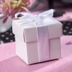 #cadeau Boites cubes blanches (x10) - Contenants à dragées et cadeaux d'invités - Ma Plus Belle Deco