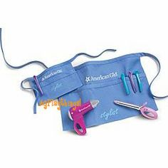 Salon Accessories for Dolls & Girls    American Girls with a flair for doing hair will love this kit! Help your doll hold the pretend hair dryer (it makes a real dryer sound!) and use the set of four stylist clips to secure hair in sections while drying. Pretend curling iron also fits in her hand, and the set includes a doll stylist apron and a girl stylist apron that match.    $28  DKSA