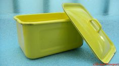 Rare Vintage Yellow Enamelware Box with Lid by 17thandnewport, $14.99