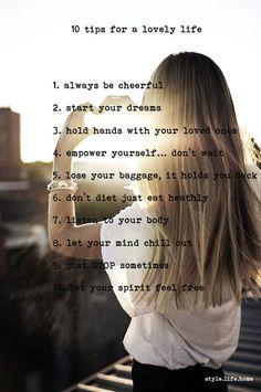 10 tips for a lovely life