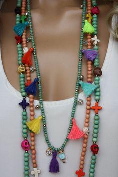 3 PCS Wooden Tassel Long Boho Necklace Set by monroejewelry
