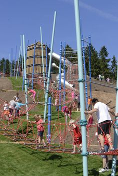"""Dubbed """"Europe's Longest Playground"""", Aventura – Play Mountain is located in Medebach, Germany in a family resort that's surrounded by nature. The massive structure, made by Berliner, begins at the foot of Bromberg Hill and winds its way up through tunnels, bridges, balancing elements, and rubber mats all the way to the top. Photo courtesy of Berliner"""
