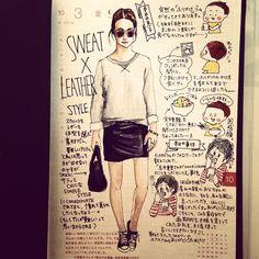 「色々事件のあった、10月3日の日記。#産みの親の方からのまさかのコメントも #レインボーご飯も #大事件 #ほぼ日 #ほぼ日手帳 #ほぼ日umu #techo2014 #fashion #style #coordinates #fashionillustration #illustration…」