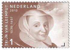 Leemput, Trijn van, ook bekend als Catharina de Berghes ten Essendelle (ca. 1530 – Utrecht 1607). Deze heldin van Utrecht begon met een groep vrouwen in 1577 aan de sloop van de gehate dwangburcht Vredenburg, symbool van het verjaagde Spaanse gezag. Ze was geërgerd omdat het nieuwe gezag deze stap niet durfde te zetten. Trijn van Leemput heeft in de loop der jaren steeds tot de verbeelding gesproken.     http://collectclub.postnl.nl/pages/detail/s1/10220000001805-2-21010000000080.aspx