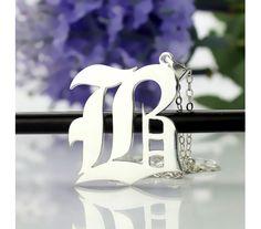 Sterling Silver Gotisch Script Monogram Necklace