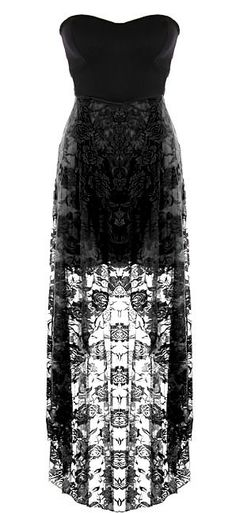 Chantilly Maxi Dress: Features a chic strapless cut with stunning sweetheart neckline, edgy black bodice trimmed with princess seams and cutout sides, mesmerizing black floral lace skirt, and a flattering high-low hem to finish.