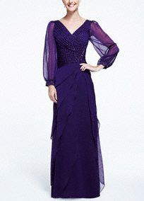 This vibrant chiffon beaded dress is an ideal choice for any Mother of the Bride or Special Occasion Guest!  V-neck pleated bodice features sparkling heavily beaded detail.  Flutter tiered skirt adds movement and helps create a flattering silhouette.  Long chiffon sleeves with beaded wrists provide just the right amount of coverage.  Fully lined. Back zip. Imported polyester. Professional spot clean. Available in Plus sizes as Style 3225W.
