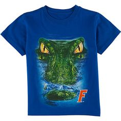 He can celebrate his University of Florida pride in this T-shirt! Short sleeve MonsterHead tee features a Gator screen print and a crew neckline. GO GATORS!