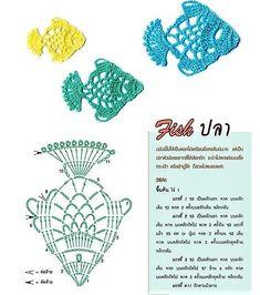 Crochet Fish, Freeform Crochet, Crochet Chart, Thread Crochet, Irish Crochet, Crochet Motif, Diy Crochet, Crochet Doilies, Crochet Stitches