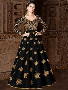 ead9c0e787 Embroidered Mulberry Silk Abaya Style Suit in Black Black Anarkali