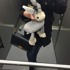 Elevator selfie with Don the Donkey... IIIAAAAAA  #chanel boybag #burberry coat #jbrand jeans #gucci booties ️️️