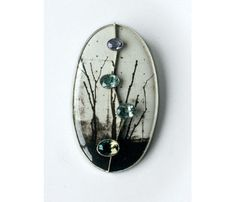 Kath Libbert Jewellery Gallery  Betina Speckner Brooch - photo in enamel, silver, white gold, sapphires