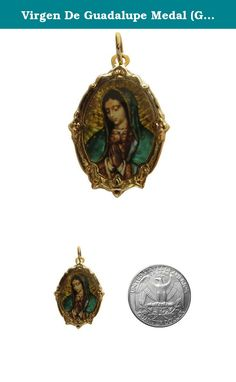 Virgen De Guadalupe Medal (Gold-tone) Frame-shapped Virgin Mary Catholic Pray Handmade Medal. Small medal that fits on a necklace, bracelet keychain or even your altar.